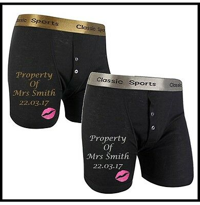 Personalised WEDDING Funny Boxer Shorts.PROPERTY OF...... Gold/Silver/White Text • 9.95£