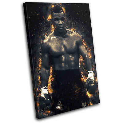 Boxing Mike Tyson Fire Abstract Sports SINGLE CANVAS WALL ART Picture Print • 24.99£