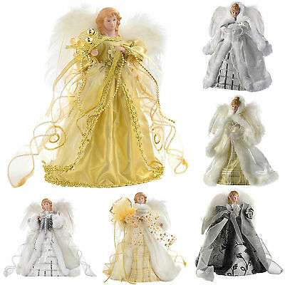 Angel Decoration Christmas Tree Top Topper With Feather Wings Gold Silver White  • 14.99£