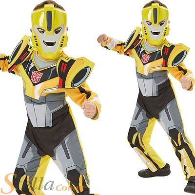 Boys Deluxe Transformers Bumble Bee Costume Superhero Fancy Dress Outfit • 18.98£