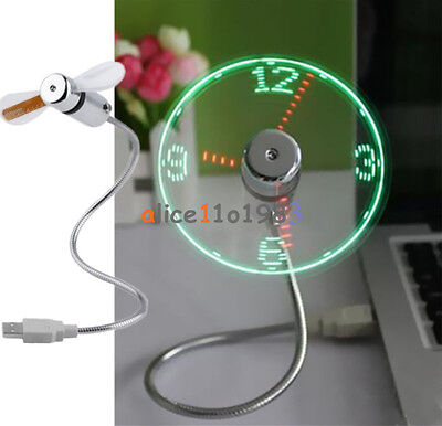 AU9.86 • Buy LED Fan Mini USB Clock Fan Powered Cooling Flashing Real Time Display Function