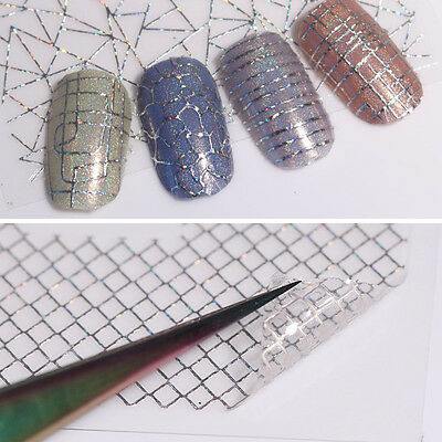 12 Patterns Holo 3D Nail Stickers Laser Aurora Line Adhesive Nail Art Decals DIY • 1.75£