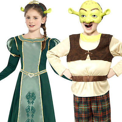 £20.99 • Buy Shrek Or Fiona Kids Fancy Dress Fairy Tale Book Day Character Childrens Costumes