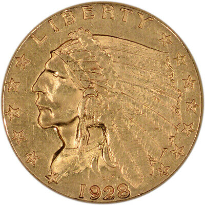 View Details US Gold $2.50 Indian Head Quarter Eagle - Almost Uncirculated - Random Date • 327.21$