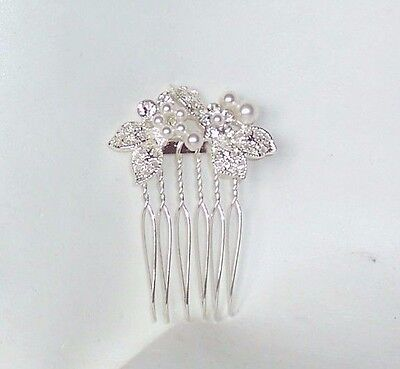 £4.99 • Buy New Small Silver Colour Pearl Diamante Hair Comb Grip Wedding Bridal Prom Party