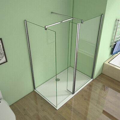 AICA Walk In Wet Room Shower Enclosure Screen Flipper Nano Glass Tray Free Waste • 233.91£