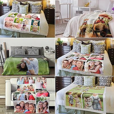 Personalised Soft Fleece Photo Printed Blanket Bed Throw , Single, Double • 79.99£
