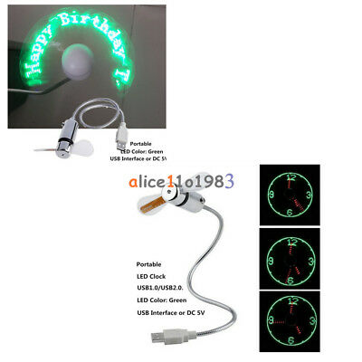 AU7.42 • Buy Portable USB 2.0 LED Mini Clock Fan Cooling Flashing Real Time Display Function