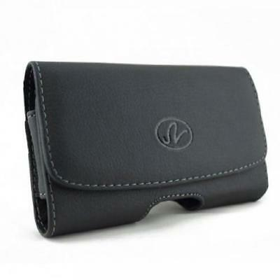 £5.73 • Buy BLACK LEATHER CELL PHONE SIDE CASE COVER POUCH BELT CLIP HOLSTER With LOOPS B09