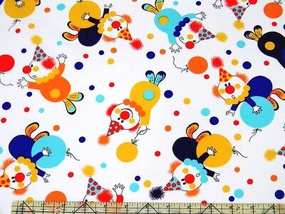 £3.40 • Buy Michael Miller Party Clowns White Fabric BHY