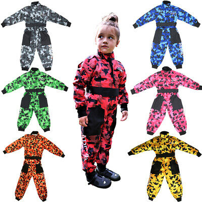 Girls Kids Motocross Race Suit LEOPARD Boys Camo Overalls Coverall ONE PIECE • 22.95£
