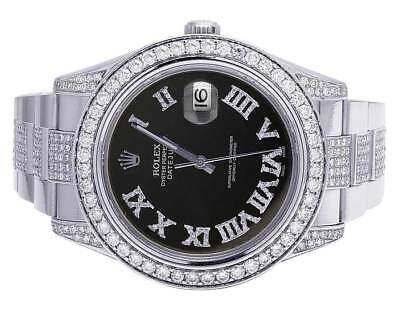 $ CDN17334.18 • Buy Mens Rolex Datejust II 116300 Black Roman Dial Iced 41MM Diamond Watch 10.5 Ct