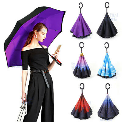 AU20.58 • Buy Windproof Upside Down Reverse Umbrella Double Layer Inside-Out Inverted C-Handle