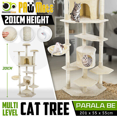 AU129.90 • Buy Cat Tree Scratching Post Scratcher Pole Gym House Furniture Multi Level 201cm BE