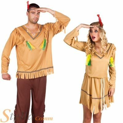 Mens Ladies Indian Costumes Western Cowboy Wild West Fancy Dress Outfits • 15.48£