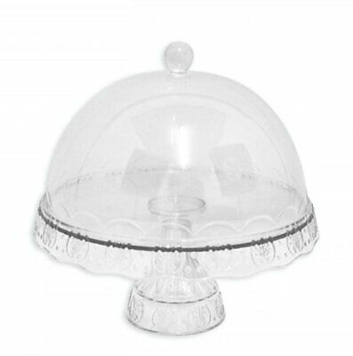 Plastic Birthday Cake Display Serving Plate Stand With Dome Lid • 9.99£
