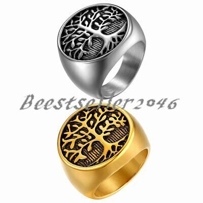 $8.99 • Buy Mens Round Celtic Tree Of Life Ring Stainless Steel Biker Wedding Band Size 7-13