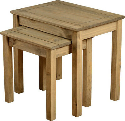 £52.95 • Buy Seconique Panama Nest Of Tables Solid Pine With Waxed Oak Finish