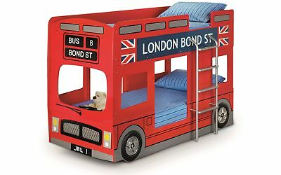 £621.95 • Buy Julian Bowen Red England London Bus Bunk Bed Frame With Ladder - 90cm 3FT Single