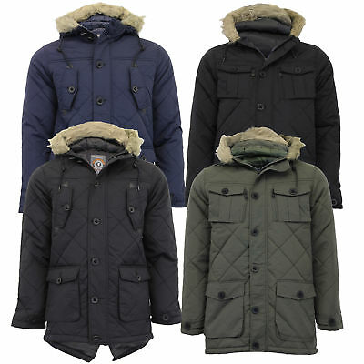 £32.98 • Buy Mens Parka Jacket Brave Soul Coat Padded Hoodie Fur Fish Tail Lined Winter New