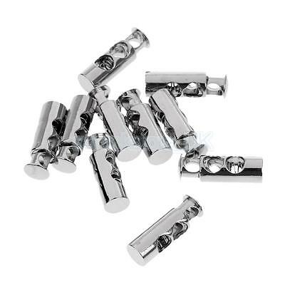 £3.15 • Buy 10x Metal Barrel String Cord Locks Double Hole Toggle Spring Clasp Stop End