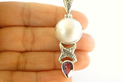 $69 • Buy White Mabe Pearl Purple Amethyst Balinese 925 Sterling Silver Pendant
