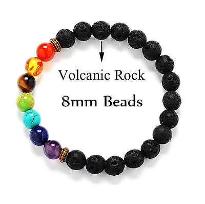 AU1.27 • Buy 7 Chakra Healing Balance Beaded Lava Bracelet Natural Stone Yoga Reiki Prayer