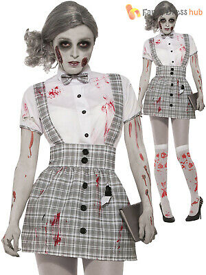 £17.95 • Buy Ladies Zombie School Girl Costume Womens Halloween Fancy Dress Outfit Scary Sexy