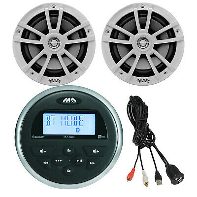$199.99 • Buy Jensen Boat Motorcycle Marine Stereo Bluetooth USB, 2X 6.5  Speakers, Aux Mount