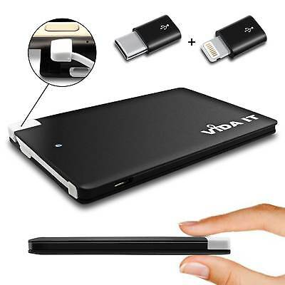 AU24.29 • Buy Slim Power Bank Portable USB Charger Battery Pack With Built-in Cable For Phone