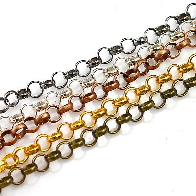 $ CDN5.45 • Buy Bulk Rolo Chain Silver Gold Plated Gunmetal Bass Copper Soldered 3-7mm Sold Ft