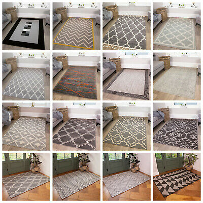 Modern Small Large Grey Rugs Soft Non Shed Traditional Geometric Living Room Rug • 49.95£