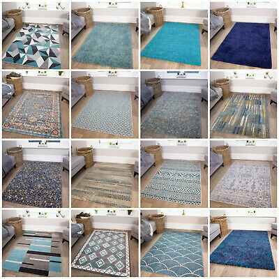Modern Blue Small Large Rugs Teal Turquoise Duck Egg Traditional Living Room Rug • 39.95£