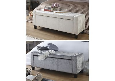 Verona Oyster Cream Silver Grey Crushed Velvet Ottoman Storage Seat Blanket Box • 118.95£