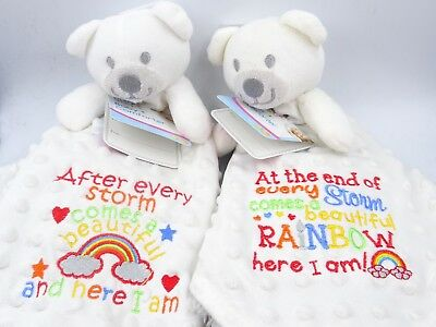 Personalised Embroidered Teddy Bear RAINBOW BABY Comforter Blanket Taggie Gift • 13.95£