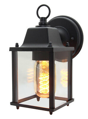 Vintage Outdoor Wall Light Black Metal Glass Lantern Style Wall Lamp ZLC082B • 18.99£