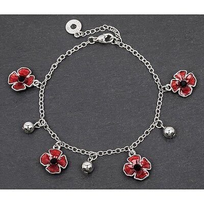 Equilibrium Silver Plated Poppy Jewellery : Delicate Poppy Bracelet • 18£