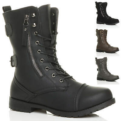 £19.99 • Buy Womens Ladies Flat Low Heel Lace Up Zip Combat Army Military Ankle Boots Size