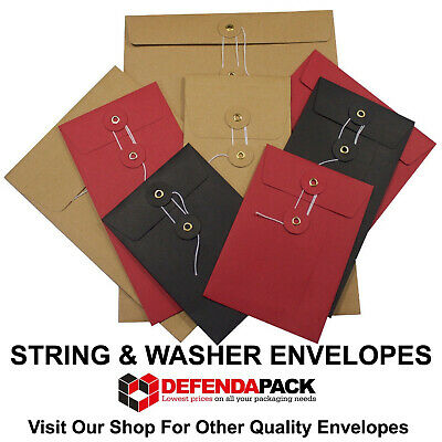 DL Red Black White Manila String And Washer Envelopes Button & Tie 220mm X 110mm • 29.28£