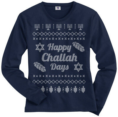Happy Challah Days Ugly Sweater Women's Long Sleeve T-Shirt Hanukkah Gift • 14.53£