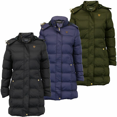 Ladies Parka Jacket Brave Soul Long Bubble Coat Hooded Padded Big Sizes Winter • 28.98£