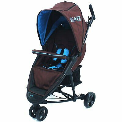 Baby Stroller Buggy ISafe 3 Wheeler Pram Visual 3 - Baby Blue Lightweight  • 69.95£