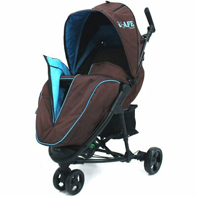 Baby Stroller ISafe 3 Wheeler Pram Visual 3 - Brown / Blue Buggy • 69.95£