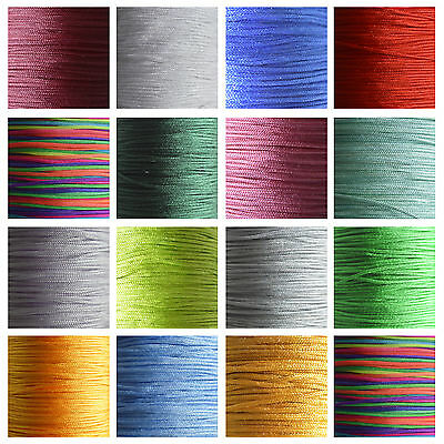 5/10m Silky Satin Rattail KUMIHIMO Braiding Cord 1mm Thickness Macrame Thread • 1.39£