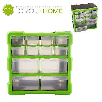 Dihl 12 Compartment Parts Storage Organiser Cabinet Screws Carry Case Tool Box • 10.49£
