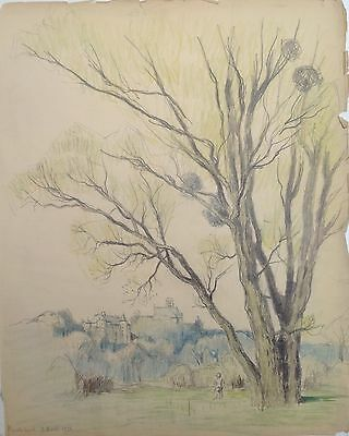 £35.51 • Buy Drawing Charcoal 1926 View Of The Village De Montataire And Castle / Quality