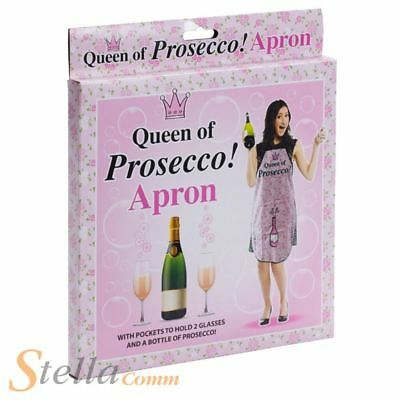 Ladies Queen Of Prosecco Apron Novelty Kitchen BBQ Cooking Gift • 9.75£
