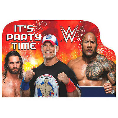 WWE WRESTLING BASH INVITATIONS (8) ~ Birthday Party Supplies Stationery Cards • 4.07£