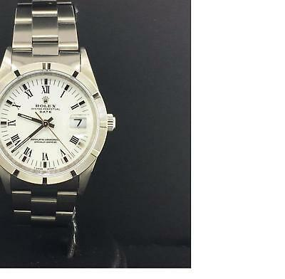 $ CDN4893.01 • Buy Rolex Date 34mm Stainless Steel Vintage White Roman Dial Automatic Ref. 15210