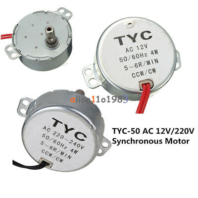TYC-50 AC 12V/220V 5/6RPM 50/60Hz 4W CW/CCW Synchronous Motor For Microwave • 2.96£